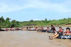 Happy Water Rafting Royalty Free Stock Images