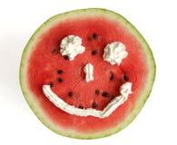 Happy watermelon. Happy face stock photos