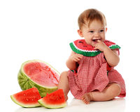 Happy Watermelon Baby Royalty Free Stock Image