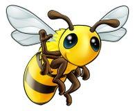 Happy waving cartoon bee. Illustration of a cute happy waving cartoon bee character Stock Photos