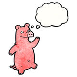 happy waving cartoon pig with thought bubble Royalty Free Stock Images