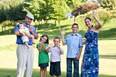 Happy Waving Family Royalty Free Stock Image