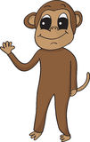 Happy waving monkey. Silly cartoon  monkey smiling and waving Royalty Free Stock Images