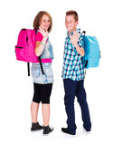 Happy Waving Teens Royalty Free Stock Image