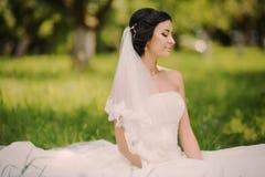 Happy wedding bride on nature Royalty Free Stock Photo