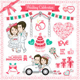 Happy Wedding Card. Vector and illustration Royalty Free Stock Image