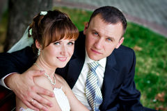 Happy wedding couple Stock Photography