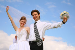 Happy wedding couple Royalty Free Stock Image