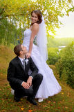Happy wedding couple. Bride and Groom in the park stock photo