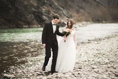 Happy wedding couple, bride and groom posing neat river against backdrop of the mountains Stock Images