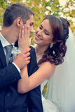 Happy wedding couple. Bride and Groom on wedding day royalty free stock photo
