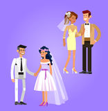 Happy wedding couple. Happy cute wedding couple. Vector wedding detailed character, beautiful smiling bride and groom Royalty Free Stock Photography