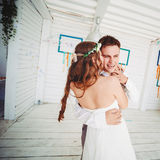 Happy wedding couple dancing Stock Photo