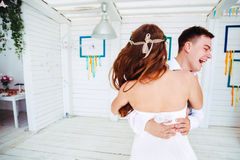 Happy wedding couple dancing Stock Image