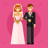 Happy wedding couple. Flat design vector illustration of happy wedding couple or newlyweds. Smiling bride in tiara with bridal bouquet keeping groom's hand in Royalty Free Stock Photography