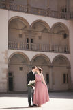 Happy wedding couple, groom, bride with pink dress hugging and smiling each other on the background walls in castle Royalty Free Stock Image