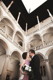 Happy wedding couple, groom, bride with pink dress hugging and smiling each other on the background walls in castle Stock Image