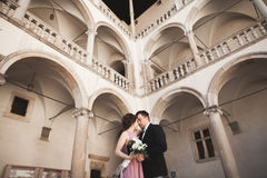 Happy wedding couple, groom, bride with pink dress hugging and smiling each other on the background walls in castle Stock Photo