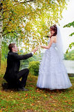 Happy wedding couple. Groom standing on one knee before bride Royalty Free Stock Images