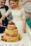 Happy wedding couple handsome groom and blonde bride carving del Stock Photos