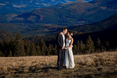 Happy wedding couple hugs on the field in mountains Royalty Free Stock Image