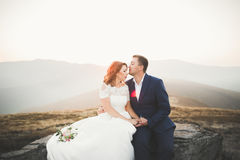 Happy wedding couple posing over beautiful landscape in the mountains Royalty Free Stock Photos
