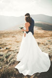 Happy wedding couple posing over beautiful landscape in the mountains Stock Image