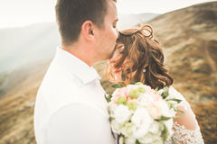 Happy wedding couple posing over beautiful landscape in the mountains Royalty Free Stock Photography