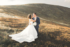 Happy wedding couple posing over beautiful landscape in the mountains Stock Photo