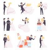 Happy wedding couple set, bride and groom celebrating marriage, dancing, hugging, cutting cake vector Illustration on a. Happy wedding couple set, bride and vector illustration