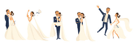 Happy wedding couple set, cartoon bride and groom Royalty Free Stock Photography