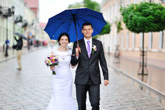 Happy wedding couple walking together Royalty Free Stock Images