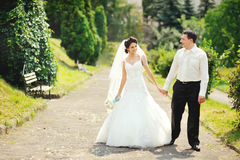 Happy wedding couple walking together Stock Images