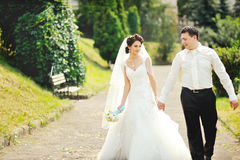 Happy wedding couple walking together Royalty Free Stock Image