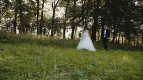 Happy wedding couple walks in bright forest stock video footage