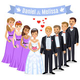 Happy wedding couple. Wedding couple with bridesmaids and grooms Royalty Free Stock Images