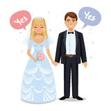 Happy wedding couple. Wedding couple say Yes. Bride and groom. On their wedding day. Wedding couple vector illustration isolated on white background. Cute Royalty Free Stock Photos