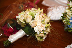 Happy wedding day. Bridal bouquet focus on the flowers Royalty Free Stock Photo