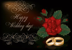 Happy Wedding day card with golden rings Royalty Free Stock Photography