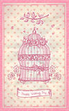 Happy wedding day hand drawn graphic card Stock Image