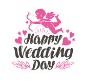 Happy Wedding Day. Label with beautiful lettering, calligraphy. Vector illustration Stock Photos