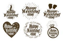 Happy Wedding day, label set. Married couple, love icon or logo. Lettering vector illustration. Isolated on white background Royalty Free Stock Photography