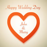 Happy Wedding Day Vector Background with Heart Stock Photos