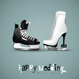 Happy wedding figure skates Stock Image