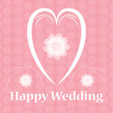 Happy wedding heart card with flowers pattern. Card Royalty Free Stock Photos