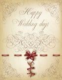 Happy Wedding invitation card in vintage style Stock Photo