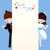 Happy wedding peep. Vector wedding greeting card or invitation. Peeking and waving hand. Couple in love bride and groom in a cartoon style Royalty Free Stock Photography