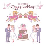 Happy weddings. Vector illustration. Wedding ceremony. Wedding royalty free illustration