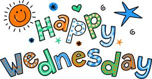 Happy Wednesday Cartoon Text Clipart Royalty Free Stock Image