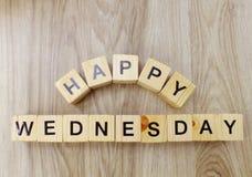 Happy wednesday letter wooden alphabet top view. Top view happy wednesday alphabet letter with space copy on wooden alphabet stock photo
